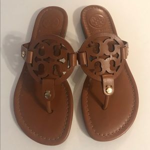 Tory Burch Miller Logo Leather Vachetta Sandal 5.5